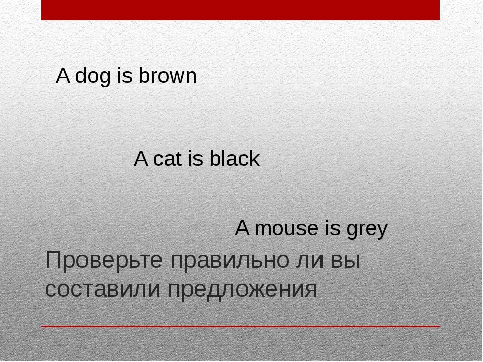 Проверьте правильно ли вы составили предложения A dog is brown A cat is black...