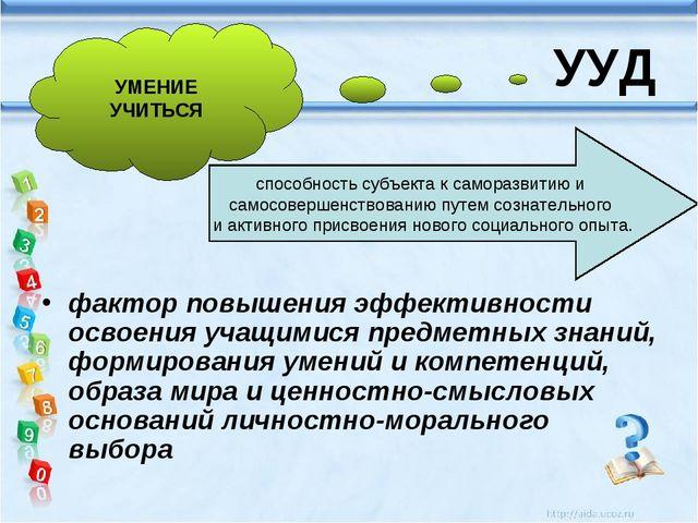 УУД фактор повышения эффективности освоения учащимися предметных знаний, форм...