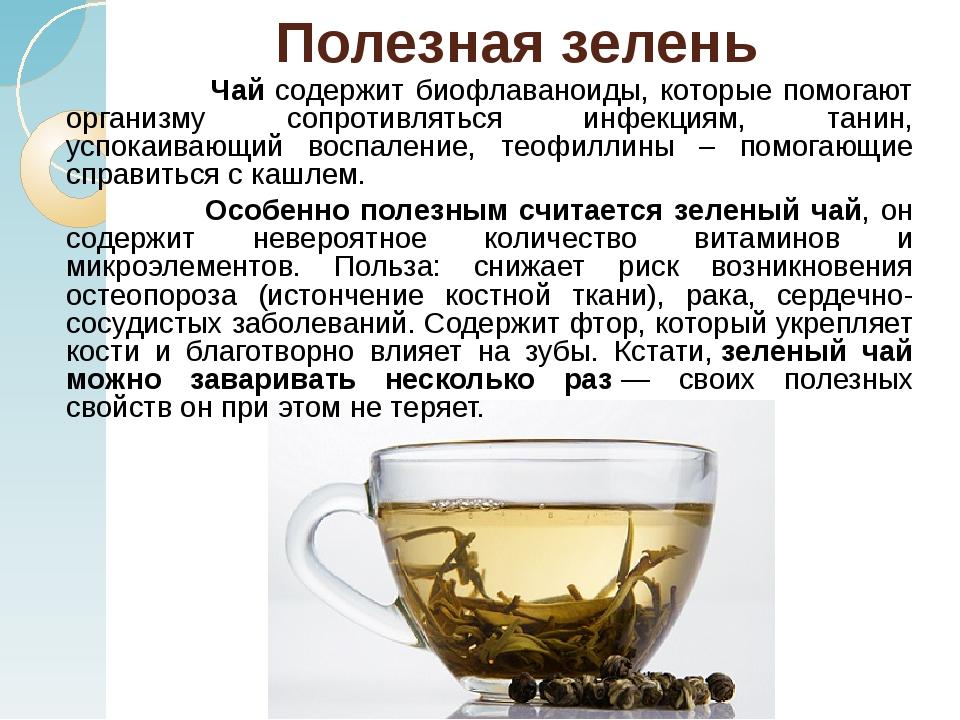 Полезная зелень Чай содержит биофлаваноиды, которые помогают организму сопрот...