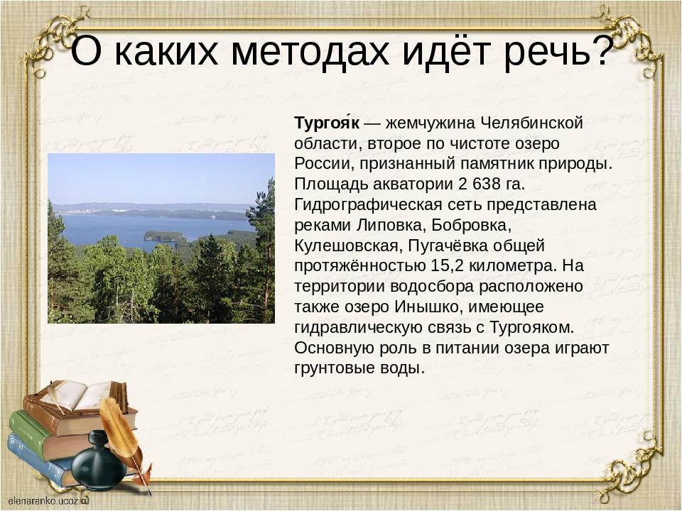 О каких методах идёт речь? Тургоя́к — жемчужина Челябинской области, второе п...