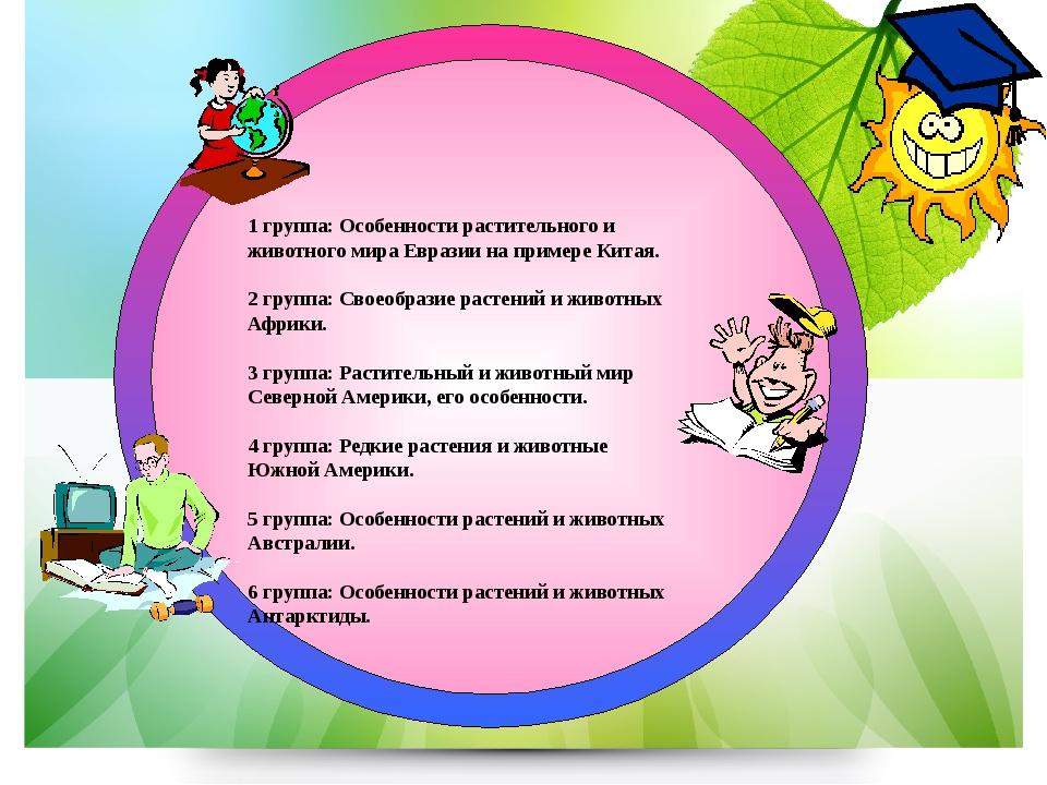 1 группа: Особенности растительного и животного мира Евразии на примере Кита...