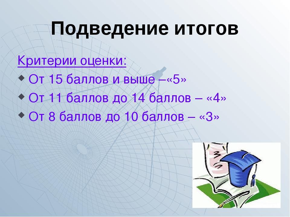 Подведение итогов Критерии оценки: От 15 баллов и выше –«5» От 11 баллов до 1...