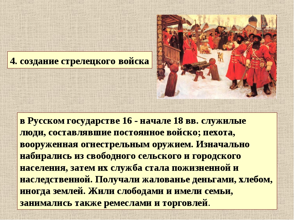 4. создание стрелецкого войска в Русском государстве 16 - начале 18 вв. служи...