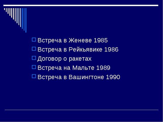 Встреча в Женеве 1985 Встреча в Рейкьявике 1986 Договор о ракетах Встреча на...