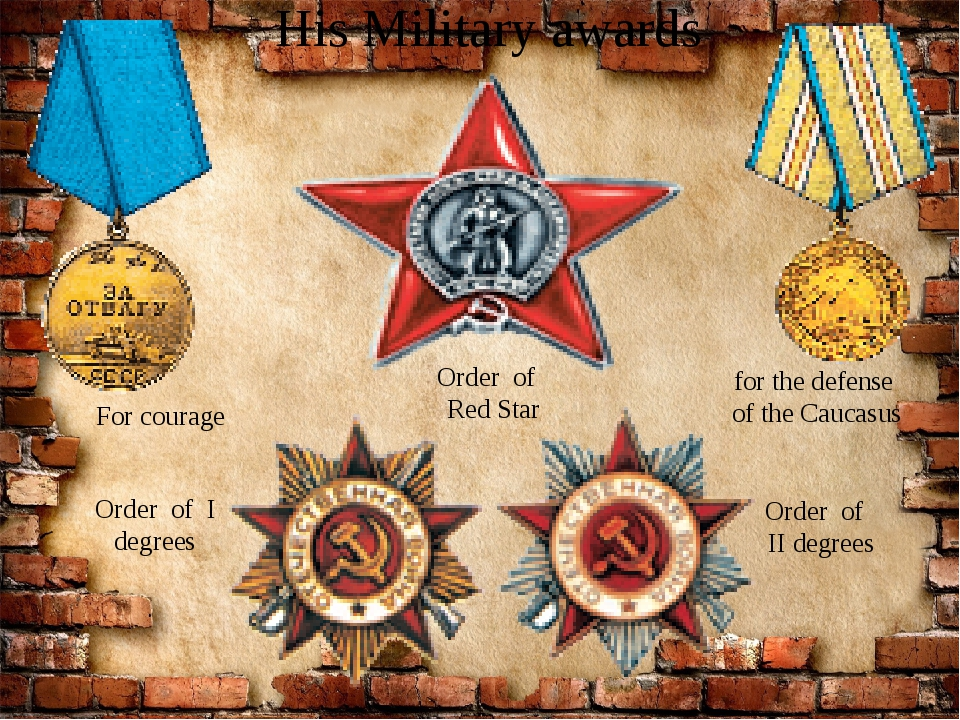 His Military awards Order of Red Star Order of II degrees Order of I degrees...