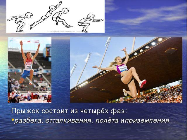 Прыжок состоит из четырёх фаз: разбега,отталкивания,полётаиприземления.
