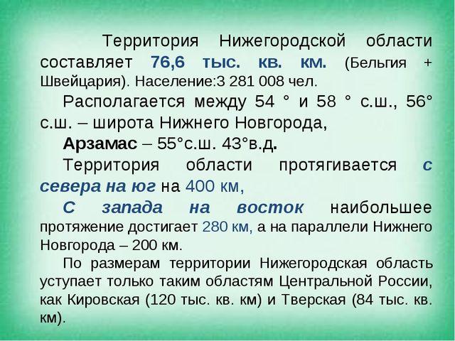 Территория Нижегородской области составляет 76,6 тыс. кв. км. (Бельгия + Шве...