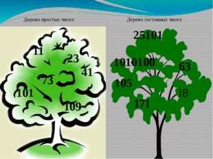 Дерево составных чисел Дерево простых чисел 11 23 41 73 101 109 25101 1010100