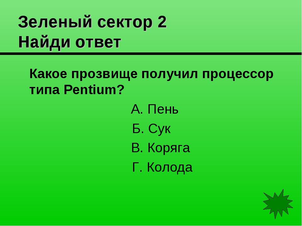 Зеленый сектор 2 Найди ответ Какое прозвище получил процессор типа Pentium?...