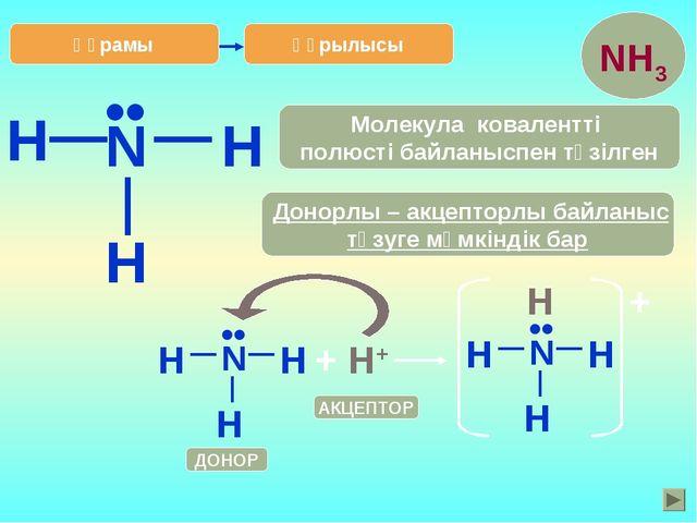 H Құрылысы N H H •• Донорлы – акцепторлы байланыс түзуге мүмкіндік бар Молеку...