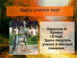 Здесь учился поэт Памятник И. Бунину г.Ельце . Здесь писатель учился в местно