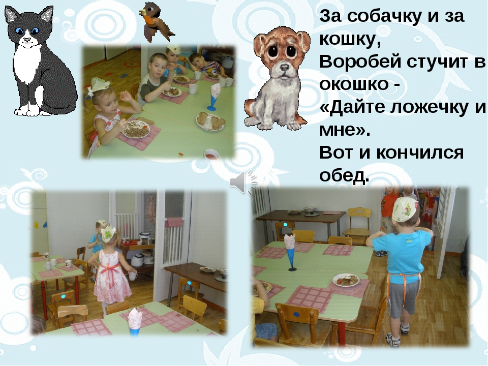 За собачку и за кошку, Воробей стучит в окошко - «Дайте ложечку и мне». Вот и...