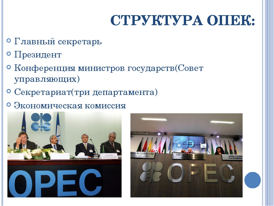 СТРУКТУРА ОПЕК: Главный секретарь Президент Конференция министров государств(...