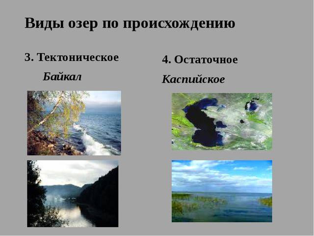 Виды озер по происхождению 3. Тектоническое Байкал 4. Остаточное Каспийское