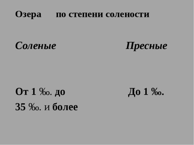 Озера по степени солености Соленые Пресные От 1 ‰. до До 1 ‰. 35 ‰. и более ‰...