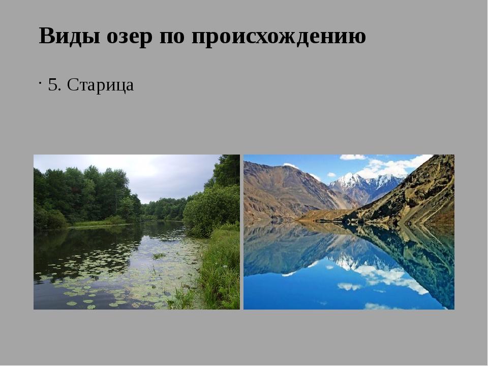 Виды озер по происхождению 5. Старица 6. Запрудное Сарезское