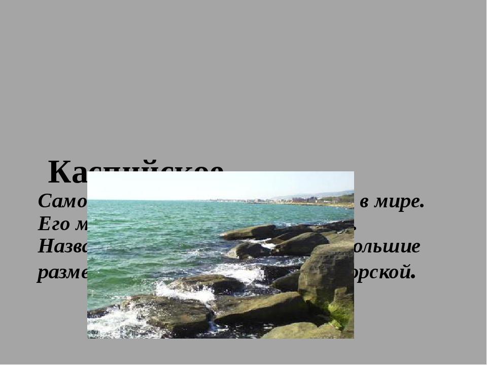 Каспийское Самое большое по площади озеро в мире. Его максимальная глубина 1...