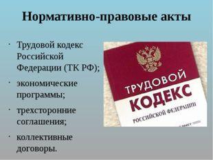 Нормативно-правовые акты Трудовой кодекс Российской Федерации (ТК РФ); эконом
