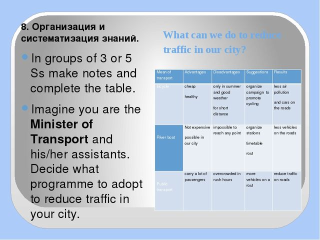 What can we do to reduce traffic in our city? 8. Организация и систематизация...