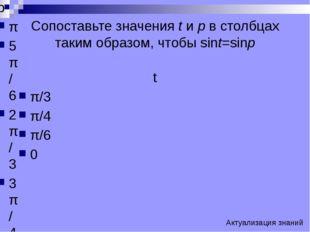 Сопоставьте значения t и p в столбцах таким образом, чтобы sint=sinp t π/3 π/