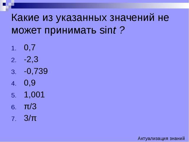 Какие из указанных значений не может принимать sint ? 0,7 -2,3 -0,739 0,9 1,0...