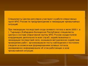 Специалисты Центра регулярно участвуют в работе оперативных групп МЧС России