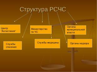 """Структура РСЧС Центр """"Антистихия"""" Министерство по ЧС Органы муниципальной вла"""