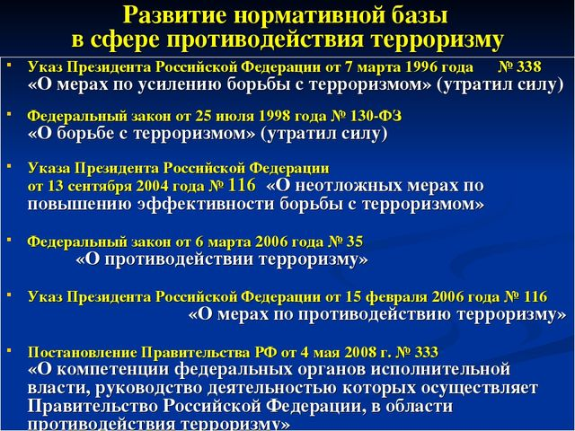 Развитие нормативной базы в сфере противодействия терроризму Указ Президента...