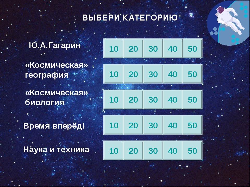 Ю.А.Гагарин «Космическая» география «Космическая» биология Время вперёд! Наук...