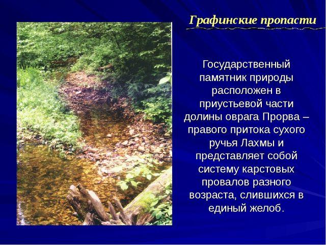 Государственный памятник природы расположен в приустьевой части долины оврага...