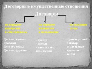 Договор купли-продажи Договор мены Договор дарения Договоры - аренда - прокат