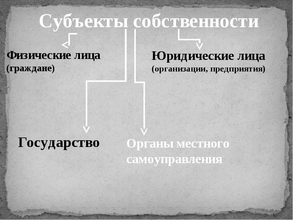 Субъекты собственности Органы местного самоуправления Физические лица (гражда...