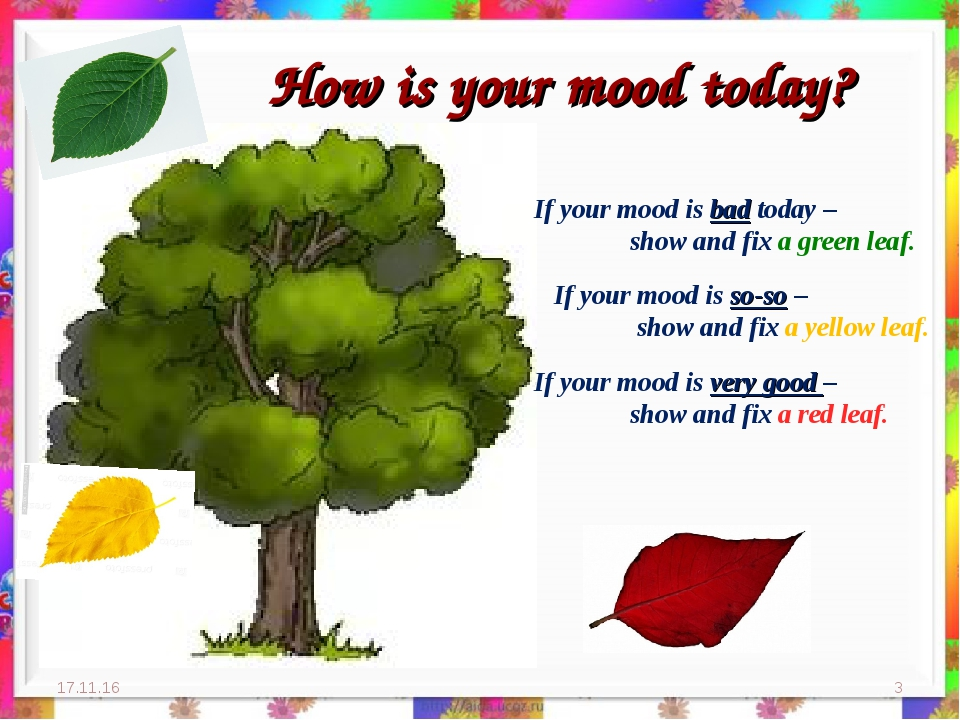 How is your mood today? * * If your mood is bad today – 	show and fix a green...