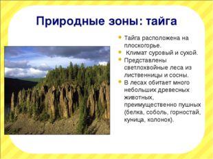 Природные зоны: тайга Тайга расположена на плоскогорье. Климат суровый и сухо