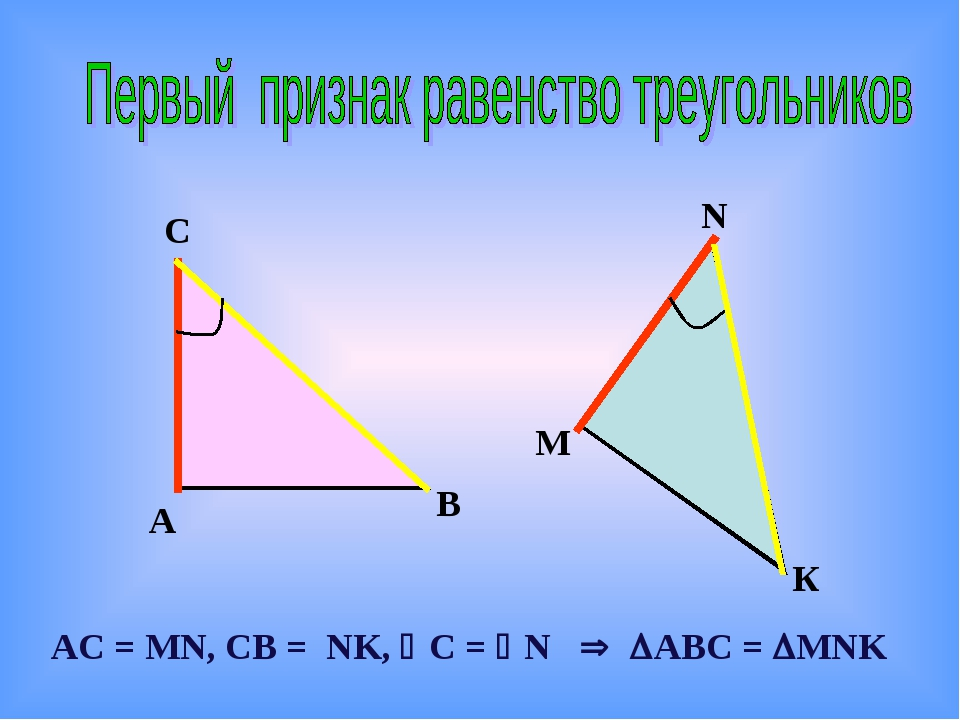 А С В N М К АС = МN, CВ = NK, C = N  ABC = MNK