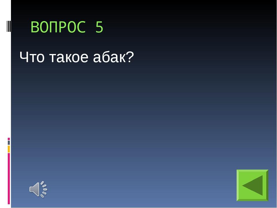 ВОПРОС 5 Что такое абак?