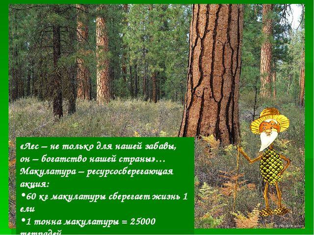 «Лес – не только для нашей забавы, он – богатство нашей страны»… Макулатура –...