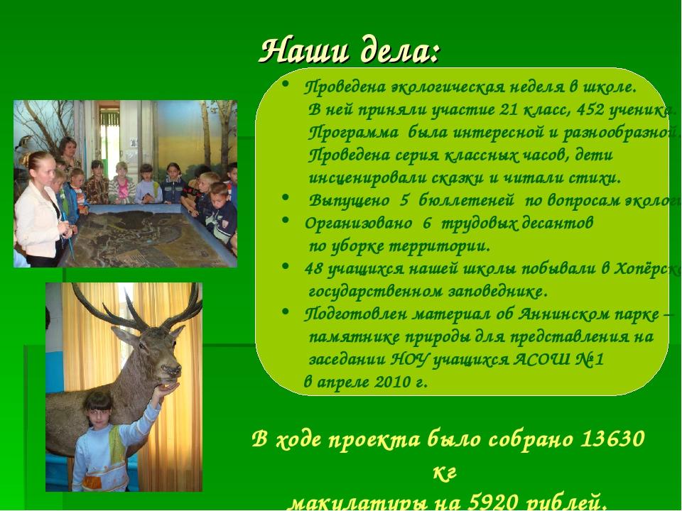 Наши дела: Проведена экологическая неделя в школе. В ней приняли участие 21 к...