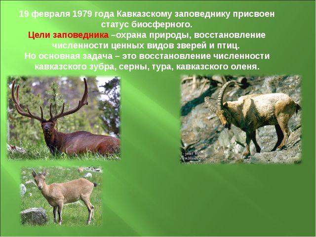 19 февраля 1979 года Кавказскому заповеднику присвоен статус биосферного. Цел...