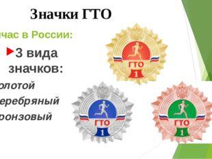 Сейчас в России: 3 вида значков: Золотой Серебряный Бронзовый Значки ГТО