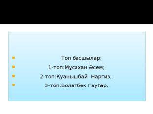 Топ басшылар: 1-топ:Мұсахан Әсем; 2-топ:Қуанышбай Наргиз; 3-топ:Болатбек Гау