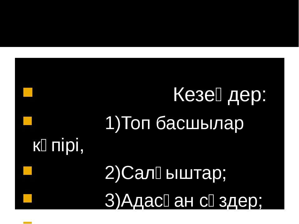 Кезеңдер: 1)Топ басшылар көпірі, 2)Салғыштар; 3)Адасқан сөздер; 4)Қортынды.