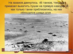 На казаков двинулось 45 танков, Чекурда приказал выкатить пушки на прямую нав