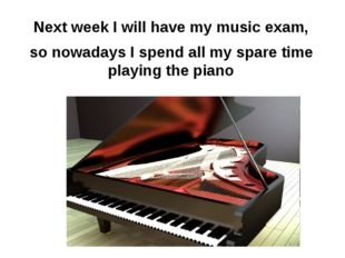 Next week I will have my music exam, so nowadays I spend all my spare time pl