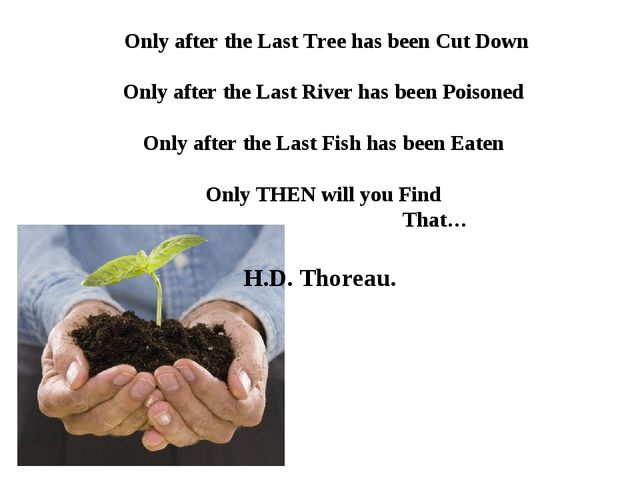 Only after the Last Tree has been Cut Down 							 Only after the Last River...