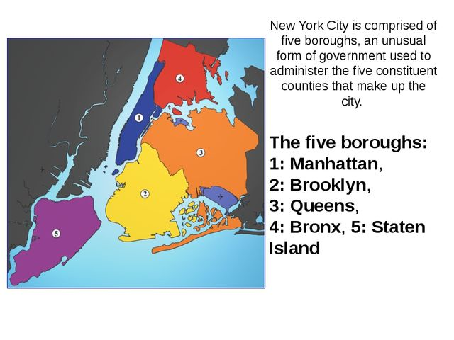 The five boroughs: 1: Manhattan, 2: Brooklyn, 3: Queens, 4: Bronx, 5: Staten...
