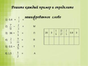 Решите каждый пример и определите зашифрованное слово 1) 0,4 + = К  2) – =