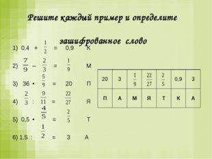 Решите каждый пример и определите зашифрованное слово 1) 0,4 + = 0,9 К  2)