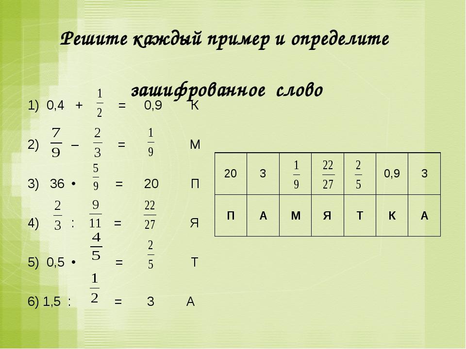 Решите каждый пример и определите зашифрованное слово 1) 0,4 + = 0,9 К  2)...