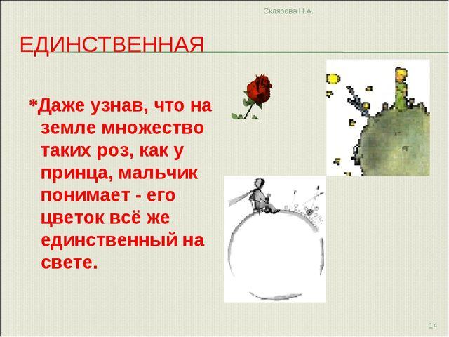 ЕДИНСТВЕННАЯ *Даже узнав, что на земле множество таких роз, как у принца, мал...